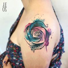 #watercolortattoo #watercolorrose #tattoorose