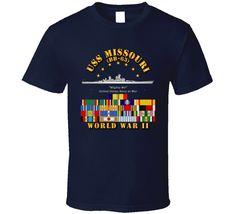 Battleship - USS Missouri - WWII w SVC Ribbons T Shirt