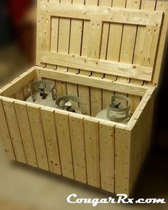 how to make a propane tank storage bench