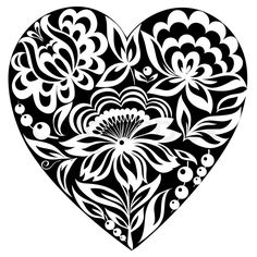 Stock vector of 'Silhouette of the heart and flowers on it Black-and-white image Old style'