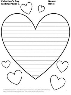 heart writing template writing template free to download and - Christmas Writing Pages