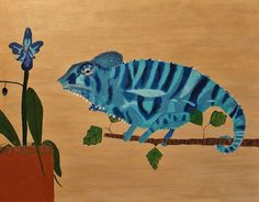 A house Panther Chameleon attempting to match a Blue Orchid Blue Orchids, Chameleon, Panther, Amy, Birds, Fish, Prints, Artwork, Painting