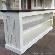 Build a Farmhouse Style (TV Console) Sideboard or 'short walk' ~ room divider. Diy Wood Projects, Furniture Projects, Furniture Plans, Wood Furniture, Home Projects, Furniture Stores, Woodworking Projects, Furniture Online, Woodworking Plans