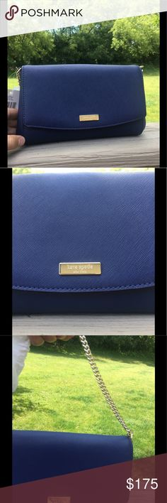 """Kate Spade purse New with tags, Kate Spade """"Greer"""" purse. Beautiful oceanic blue. Has a short gold chain strap but has an optional oceanic blue leather shoulder strap. kate spade Bags Mini Bags"""