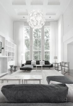 monochromatic grey (gray) living room -- in LOVE with the chandelier!