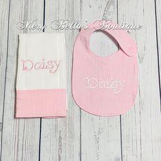 Seersucker babypersonalized gift setbaby bibsbaby girl giftbaby monogrammed baby bib personalized baby gift baby boy baby girl baby shower negle Image collections