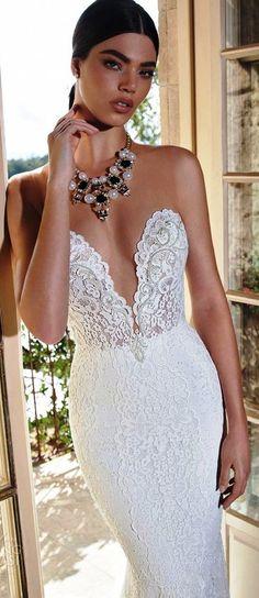 Berta bridal 2015 sleeveless illusion deep sweetheart neckline sheath wedding dress