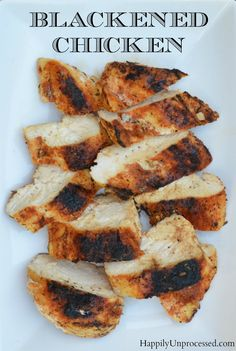 A nice blend of spices creates a blackened chicken that is moist and flavorful. Great on salads, in pasta or alone.
