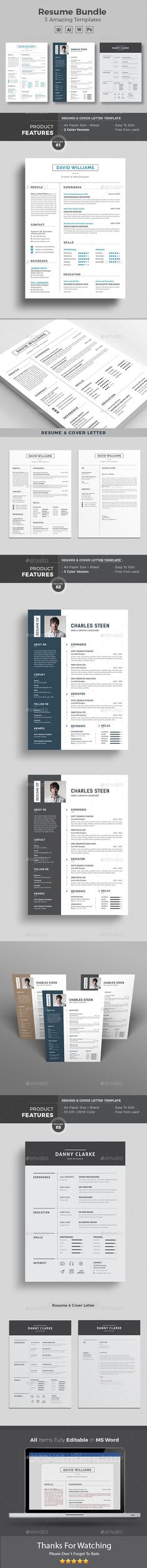microsoft word letter of resignation%0A Clean Resume Template Bundle  A   u     US Letter Paper Size with Bleeds  PSD