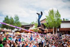 14-year-old competitive slackliner Alex Mason at the Teva Mountain Games.