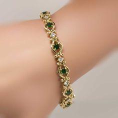 Rare Vintage 3.85ct t.w. Tsavorite Green Garnet & Diamond Bracelet 14k | Antique & Estate Jewelry | Jewelry Finds SOLD: 9/14/14