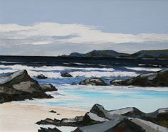 David BARNES artist, paintings and art at the Red Rag British Art Gallery Impressionist Paintings, Seascape Paintings, Landscape Paintings, Landscapes, Ocean Art, Ocean Waves, English Artists, Snowdonia, Sky Art