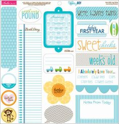 "Baby Boy Cardstock Stickers 12""X12""-Just Write Journaling"