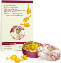 Primavera Revitalising 7 Day Intensive Seed Oil Treatment Capture a youthful radiant glow. This radiance treatment will help restore the skins natural oils & provide the perfect dose of organic oils to moisturise & nourish your facial skin. Contains active ingredients of organic Pomegranate & Rose seed oil & is just the ticket for the face to help strengthen skin & ease fine lines & wrinkles. Intensive seed oil capsules is the best choice for mature ageing skin. NATRUE Certified. Vegan.