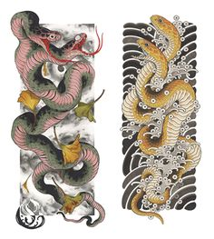 Some prints of this colab with thy Lord with available on snatch'm up! Japanese Snake Tattoo, Japanese Sleeve Tattoos, Snake Drawing, Snake Art, Yakuza Tattoo, Dragon Tattoo Chest, Cobra Tattoo, Leg Sleeve Tattoo, Traditional Japanese Tattoos