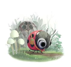 ❤️Little Red Riding Bug and the Big Bad Wolf Spider ~ Artist Syd Hanson