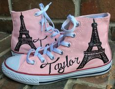 Totally personalized pink pair of handpainted Chuck Taylor High Top Sneakers for Women with a touch of Paris. If you need a childs size and do not see one in my shop, please convo me and I will set up a listing for you. Paris Pink, Ballet Pink, Light Pink...all the rage in Converse