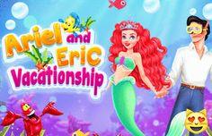 Ariel And Eric Vacationship: Ariel e Eric estão apaixonados.  Ajude a bela princesa a se preparar para dois encontros com seu amado. O primeiro será em terra, enquanto Ariel visita Eric, o outro subaquático, quando trocam os lugares.