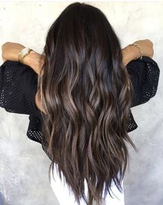 Dark brunette shade on the hair ends looks absolutely fabulous. As you can see, … Dark brunette shadow on the hair ends looks absolutely fabulous. As you can see, the combination of brown and warm black has been tested and proven.