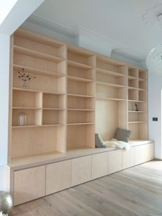 Bookcase Bookcase with sitting bench in the lower part sitting niche and shelves. Bookshelves Built In, Built Ins, Bookcases, Home Library Design, House Design, Home Living Room, Living Spaces, Design Websites, Plywood Furniture