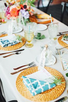 A colorful Ikat table setting | @firstmatephoto | Brides.com