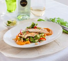 Chelsea's Pan fried snapper with kumara puree & thai salad