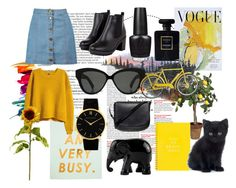 """""""black & yellow"""" by pahleness ❤ liked on Polyvore featuring Balmain, Boohoo, H&M, Larsson & Jennings, Mansur Gavriel, Art for Life, Linda Farrow, OPI, Chanel and The Elephant Family"""