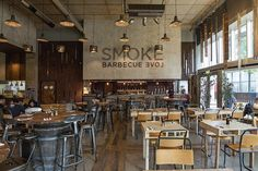 Not only that, but Smoke Barbecue has also been recommended by The Sunday Times… Grill Restaurant, Rustic Restaurant, Restaurant Concept, House Restaurant, Restaurant Interior Design, Restaurant Ideas, Industrial Restaurant Design, Industrial Cafe, Bar Grill