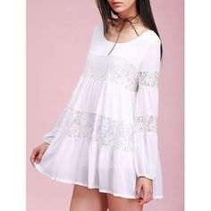 20.55$  Buy here - http://dip4m.justgood.pw/go.php?t=188143101 - Lace Spliced Loose Fitting White Mini Dress 20.55$