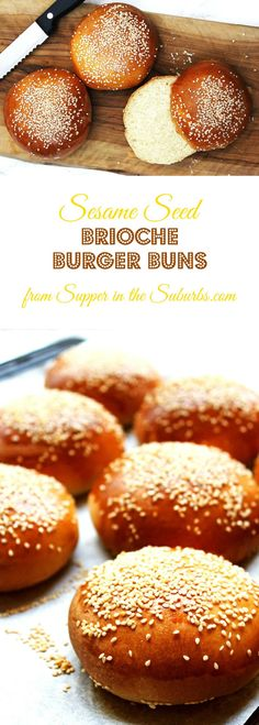 Learn how to make fresh sesame seed topped brioche buns at home. They are perfect for your next burger night or BBQ! Brunch Recipes, Wine Recipes, Baking Recipes, Bread Recipes, Picnic Recipes, Burger Recipes, Comida Kosher, Savory Bread Recipe, Hamburger Buns