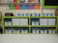kindertrips: Classroom Photos  Love the colors and organization.