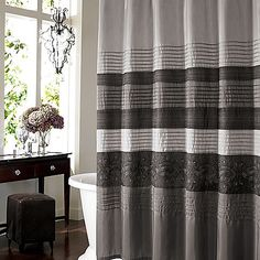 Manor Hill Cleo Pewter 72-Inch x 72-Inch Shower Curtain