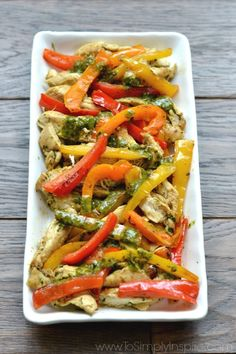 Cilantro Lime Chicken Fajitas are loaded with colorful pan seared peppers and onions and topped with the perfect vinaigrette. A spectacular and healthy meal that is easy to prep and quick to cook