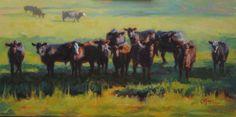 "Neighborhood Watch, 12""x 24"" oil by Cecile W. Morgan. Gardner Farms, Auburn, AL. Suspicious calves who were sure I was up to no good."