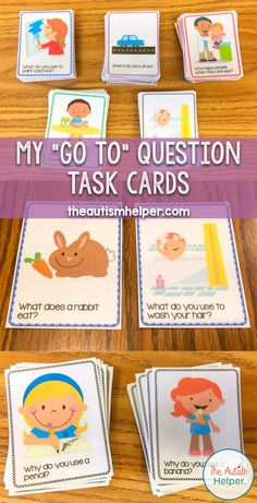 "My ""Go To"" Question Task CardsYou can find Task cards and more on our website.My ""Go To"" Question Task Cards Speech Language Therapy, Speech Therapy Activities, Language Activities, Literacy Activities, Speech And Language, Activities For Kids, Aba Therapy For Autism, Autism Classroom, Classroom Behavior"