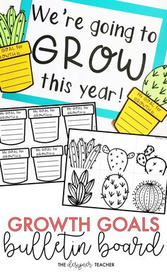 Create a garden full of growth goals for your bulletin board with this growth mindset, cactus theme bulletin board kit! Includes a low-prep version and a craftivity version, plus several different headers! {from The Designer Teacher} 3rd Grade Classroom, Future Classroom, School Classroom, Classroom Themes, Classroom Activities, Classroom Organization, Classroom Design, Garden Theme Classroom, Seasonal Classrooms