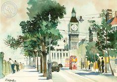Thames Embankment with Big Ben, London, c. 1965, a California watercolor by Dong Kingman