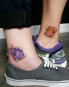 60 amazing best friend tattoos for BFFs - Tattoo Ideas & Trends Food Tattoos, Neue Tattoos, Sister Tattoos, Sibling Tattoos, Mom Daughter Tattoos, Tattoos For Daughters, Matching Best Friend Tattoos, Matching Tattoos, Matching Friend