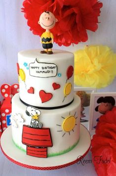 Snoopy/Charlie Brown cake - Cake by ReemFadelCakes