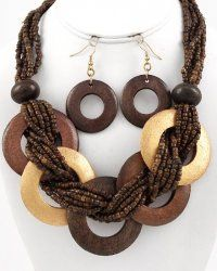 $19.00  Multi-Strand Wood Bead Necklace and Earring Set    Burnished Wood Necklace Earring Set  Multi Strand Wood Beads