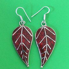 Handmade Tibetan Silver Coral Tree Leaf Earring