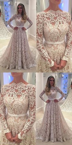 Simple Scalloped-Edge Long Sleeves Sweep Train Lace Wedding Dress with Sash wedding dresses, elegant lace long sleeves wedding dresses,elegant cheap wedding dresses Wedding Dress Sash, Lace Wedding Dress With Sleeves, Long Sleeve Wedding, Elegant Wedding Dress, Cheap Wedding Dress, Dream Wedding Dresses, Elegant Dresses, Bridal Dresses, Beautiful Dresses