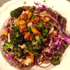 Roasted butternut squash, broccoli, crispy cabbage on soba noodles with sesame tahini sauce....hot or cold, it's awesome!