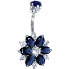 Sterling Silver 925 Sapphire Blue Cubic Zirconia Sensational Flower Belly Ring
