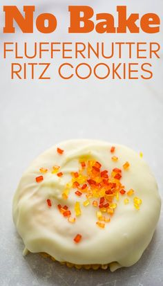 Everyone loves these quick and easy, no bake cookies made with buttery, salted Ritz crackers, peanut butter, marshmallow fluff and coated in melted white chocolate. Decorate these simple, semi homemade dessert treats with seasonal sprinkles and designs. They're the best DIY and kids love to help make them. #ritzcookies #fluffernutter