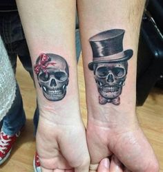 Couple Matching Skull Tattoos