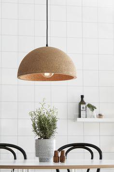 Designer Pendant Lamp Made From Cork Lighting Cork Lighting, Fredrikstad, Dinner Room, Minimal Decor, Co Working, Scandinavian Modern, Pendant Lamp, Living Spaces, Sweet Home