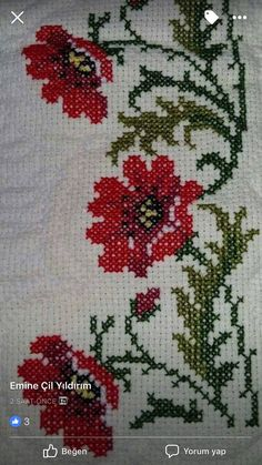 """""""""""Poppies in the Cross Stitch Technique"""""""", """"This post was discovered by Gül"""""""