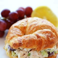 Chicken Salad Croissant Sandwiches Recipe Lunch with chicken, chopped celery, red grapes, green onions, mayonnaise, sour cream, fresh…