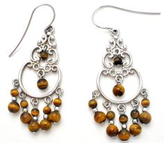 """Gemstone Dangle Jewelry - This is a pair of pierced sterling silver chandelier drop earrings with brown tiger's eye beads. They are hallmarked 925, measure 2"""" by .75"""" and weighs 6.1 grams. These earri"""